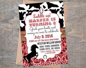 Cowgirl Rodeo Western Cow print Red bandana digital  Birthday party invitation!