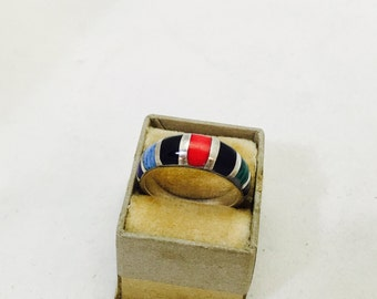 Vintage Southwestern Style Sterling Silver Multi-Color Ring Band - Size 7 - 4.0 Grams