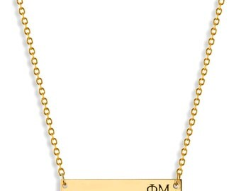 Big Little Sorority Gold Bar Necklace Set Custom Sorority