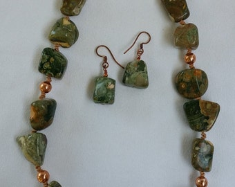 Rhyolite Stone Necklace and Earring Set