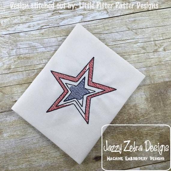 3 color star Sketch Embroidery Design - star Sketch Embroidery Design - 4th of july Sketch Embroidery Design