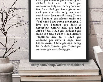 Love Art Print, I Love You Because, Love Printable Art, Love Quote Sign, Love Wall Art, Love Sign, Love Quote Print, Love Gift Idea
