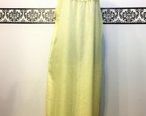 1960's Yellow Cotton Plus Size Nightgown by Katz,  Plus Size 22W, 24W, 2X, Vintage Cotton Pajamas, Bohemian PJs, Vintage 60's Night Dress