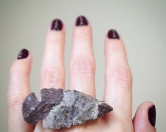 CLEARANCE Stone Arrowhead Double Finger Ring, Two Finger Ring, Knuckle Duster