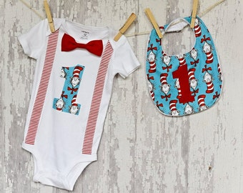 Dr. Seuss/Baby Boy Bow Tie Suspender Onesie Bodysuit and Bib /Daycare Outfit/Dr. Seuss Birthday/Trendy/Photo Prop/Little Man/Shower Gift