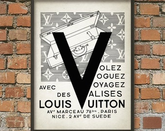 Louis Vuitton Vintage Suitcase Ad Wall Art Print - Antique Travel Poster - French Fashion Wall Decor - Louis Vuitton Fashion Gift Idea