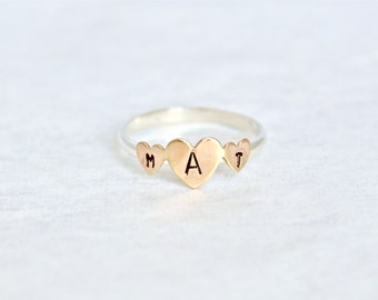 Any Letters.  Triple Heart Hand-Stamped Ring.  Sterling Silver Personalized Ring.  Everyday wear ring.  Simple heart ring.