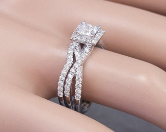 14k White Gold Princess Cut Simulated Diamond Engagement Ring And Band 1.25ct
