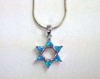 Blue Opal Star of David Necklace, Sterling Magen David with opal triangle stones, blue opal or pink opal