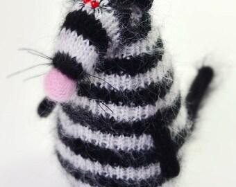 Black and White Rat Striped toy - Knitted rat Amigurumi Toy mouse  Miniature Doll rat crochet toy rat plush mouse amigurumi wool rat stuffed
