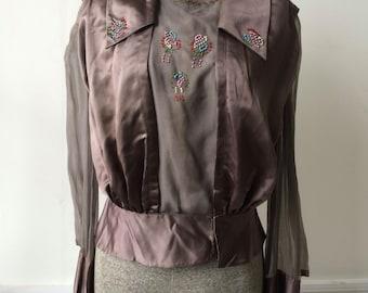 Antique Edwardian Beaded Cocoa Silk Satin and Chiffon Blouse Bodice Jacket Shirtwaist Peplum Great Gatsby Downton Abbey