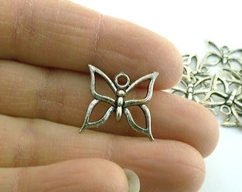 9 Antique Silver Butterfly Charms