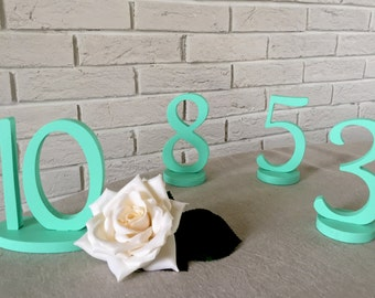 Table Numbers mint. Wedding table numbers mint. Party table numbers, Wedding Reception table numbers, Table numbers silver, Table numbers