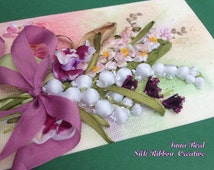 NEW Lovely Garden Flowers Ribbon Embroidered Card designed by Inna Bird