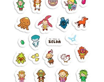 The Legend of Zelda ~ Ocarina of Time / Majora's Mask ~ Sticker Sheet 70mm x 100mm
