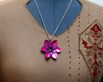 Pink Scalemaille Flower Necklace