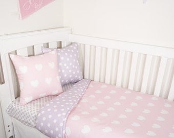 Pink hearts and purple spots nursery set