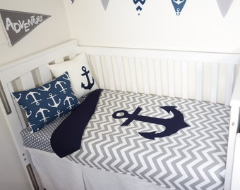 Jumbo navy anchor nursery set