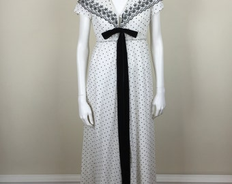 Lucie Ann black & white dotted maxi hostess dress w/ embroidered shawl collar 60s