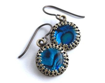 Blue Abalone Earrings, Antique Brass Jewelry, Round Paua Shell Earrings, Hook or Leverback Ear Wires, Seashell Jewelry