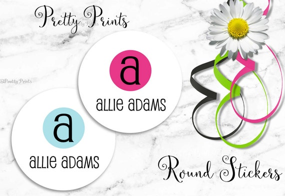Back to School - Initial Stickers - Personalized Stickers - Colorful Dot - Round Labels - Personalized Labels - Tags - School Stickers