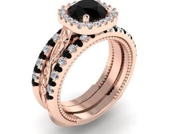Diamond Rings set with ring guard, Diamond wedding set and the guard, Engagement Diamond Rings, Black and White diamonds set of 3 rings