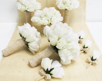 Wedding Bouquet Set 9 Pieces White Silk Roses Bleached Burlap Lace Rose Flowers