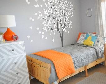 WHITE Nursery Tree Wall Decal -  Wall Sticker - Tree vinyl Wall Decal - Large Tree sticker - K019