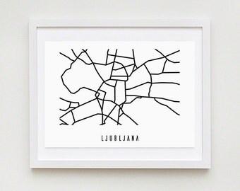 Ljubljana Abstract Map - Black and White Art Print - Digital Download Art Print