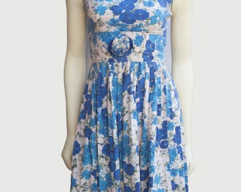 50's Vintage Blue Floral Cotton Sleeveless Tea Dress