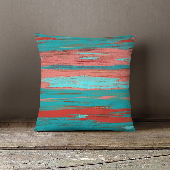 Coral Teal Throw Pillow Cover Aqua Light Coral By