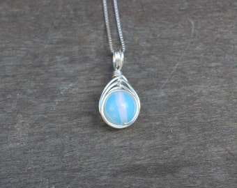 Moonstone 10mm Drop Wire Wrapped Pendant (Free shipping in Canada!)