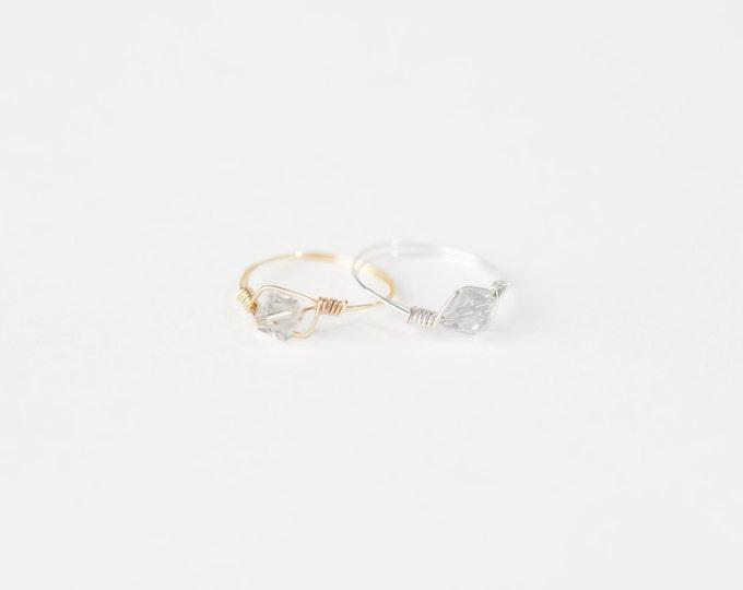 April Birthstone Ring - Swarovski Crystal Birthstone Ring - April Birthstone Crystal Bead Ring - Silver Birthstone Ring-Gold Birthstone Ring