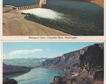 Columbia River, 2 Unused Postcards   Washington State, Wanapum Dam, c1980, good shape