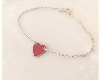 Silver bracelet with red heart painted aluminum