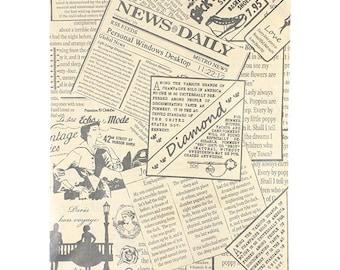 "Paper Gift Bag Classic News Print Pattern 6"" x 9"" (Pkg of 300)  (DBG1114)"