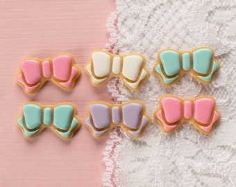 6 Pcs Assorted Pastel Bow Icing Cookie Cabochons - 23x13mm