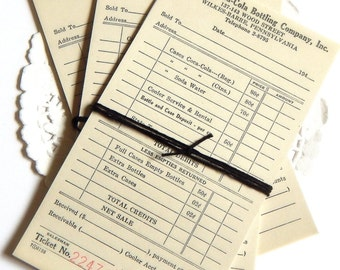 Vintage Coca Cola Receipts. Vintage Paper. Ephemera. Junk Journals. Journal Paper. Vintage Journal. Collage Ephemera. Vintage Paper Pack.