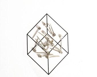 Geometric style. Earrings sterling silver minimalist cubes - handmade