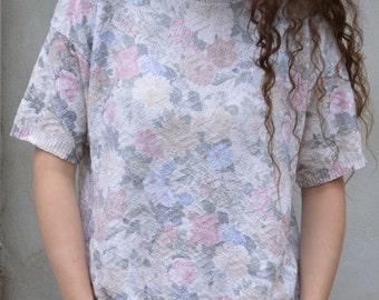 Vintage 90s Pastel Pale Floral Knit Tee