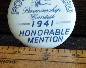 Post Standard Penmanship Contest 1941 Pinback