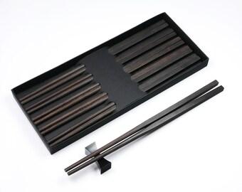 5 Pairs Black Ebony Wood Handmade Chopsticks with Square Head no Varnish or Wax