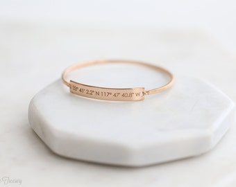 FLASH SALE 20%* Personalized Coordinates bracelet - Personalized Latitude Longitude Jewelry - Coordinates Bangle