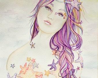 Starfish Mermaid Original Watercolor Painting
