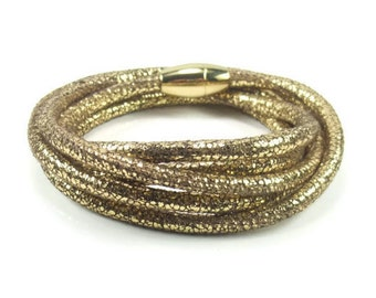 Gold Leather Wrap Bracelet, Womens Leather Bracelet, Leather Bracelet Wrap, Gold Leather Bracelet, Womens Leather Jewelry, Multiwrap