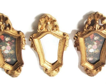 Italian Florentine Wall Mirror Picture Set, Hollywood Regency,  Small Ornate Mirror & Pictures, Carved Shell Frame, 3 Piece Wall Decor