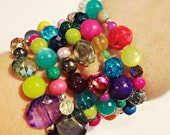 Multi-Crystal Bracelet, Swarovski Bracelet, Multicolored Crystal Bracelet, Textured Bracelet, Vitrail Bracelet, Shamballa Bracelet