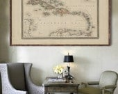 "1870 Cuba  map, Vintage  Cuba map, home decor reprint - 4 large/XL sizes up to 54"" x 36""-in 3 three colors"