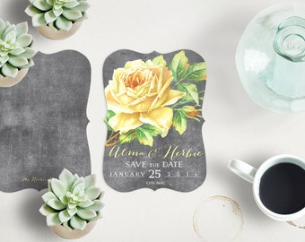 Yellow Save The Date Cards for Shabby Chic Weddings / Watercolor Paper w/ Flowers / PRINTED Save-The-Date Cards