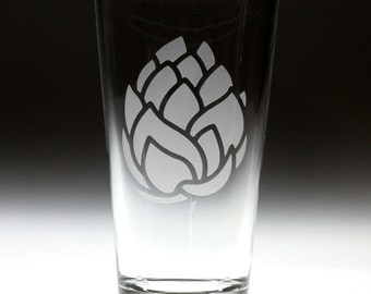 Custom personalized Fat Hop engraved glass , beer gift , dad gift , brother gift , christmas gift , friend gift , artichoke